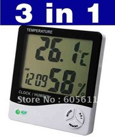 3 in 1 Digital Thermometer Clock Temperature Humidity Meter Free Shipping