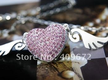 Retail genuine 2GB/4GB/8GB/16GB/32GB usb drive memory usb flash drive angel heart jewelry diamond Free shipping+Drop shipping
