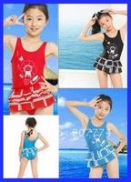 5-12 Years Old Girls Swimwar Swimsuit Children Swimwear Kids Beachwear Bathing Suit W Ruffles Free Shipping