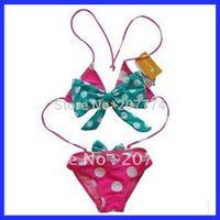 2014 New hot springs lovely dot children kids swimsuit girl bow baby bikini swimwear angel Bathing suit Age 3-13 Free Shipping