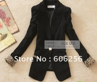 2012 hot selling 3 colors one button, fashion OL style Leopard design long sleeve ladies coat ,1 botton women suit ,women jacket