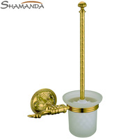 2014 Free Shipping-bathroom Accessories Brass&zinc Gold Titanium Toilet Brush Holder,golden Bathroom Products-wholesale-66006g