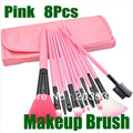 Free Shipping 12 PCS Professional Makeup Brush Set + Pink Leather Case  Make Up Brush