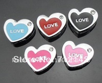 Wholesale 100pcs 8mm mix color love heart slide charms DIY accessories
