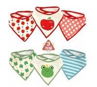 Free shipping baby cotton triangle/ waterproof Bib / slobber towel /meal Bag / slobber shoulder /3pcs for 1 pack