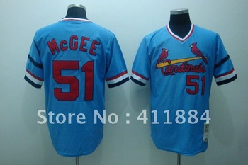 Baseball jersey,St. Louis Cardinals #51 Willie McGee blue throwback jersey,Embroidery logos,Free shipping,mix order,size48-56