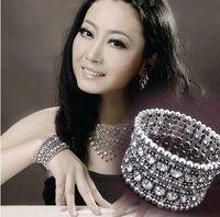 free shipping  Fashion alloy 2rows crystal stretchable bracelets vintagle bracelets