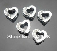 100pcs 8mm half rhinestone heart slide charms DIY accessories