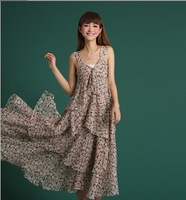 Free shipping!Newest Women chiffion flower bohemia beach dress, free size lady  sleeveless long dress Drop-shipping acceptable