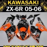Hot sell Orange black Fairing kit for KAWASAKI Ninja ZX-6R 05-06 ZX6R 2005 2006 ZX 6R 636 05 06  Motorcycle Fairings bodywork