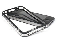 20pcs/lot Free Shipment Black Clear Bumper Case Cover Skin with Metal Buttons compatible For iphone 4 4g 4s Top Quality