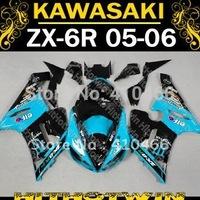 Motorcycle for KAWASAKI Ninja ZX-6R 05-06 Fairing kit ZX6R 2005 2006 ZX 6R 636 05 06 Famous light blue black Fairings set KB06