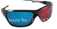 10pcs/lot 3D glasses/Re-useable Plastic Frame Resin Lens Anaglyphic Blue&Red 3D Glasses/Plastic Glasses Red/Cyan