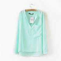 Women Long Sleeve Blouses Five Color Choice Front Short Back Long 8408