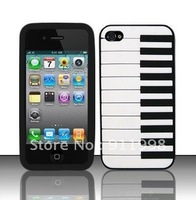 Free Shipment Black / white Piano Style Rubber Silicon Mobilephone case Skin Soft Back Phone Cover compatible For iphone 4 4g 4s