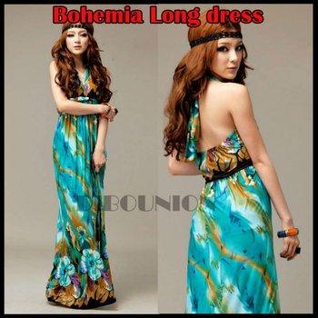 Free Shipping Hot Fashion Bohemia Printed flower Halter V neck women Beach Summer Long Dress Maxi Dresses