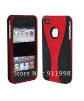 20PCS/ lot Free Ship NEW Red Black 3-Piece Deluxe Back Hard Case Cover Chrome for iPhone 4S 4 4 Top Quality Lowest price