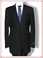 black Slim a Korean sword buckle collar waist leisure suit set S  2 Button Suit shiny 100% wool STRIPES FREE FAST SHIP & TIE SET