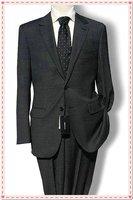 black Desinger Wool suit Custom made Men two botton jacket narrow collar fashion fit slim100% wool STRIPES FREE FAST SHIP TIE