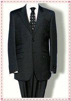 black Black Mandarin Collar Long Single-breasted Men Suit  2 Button Suit shiny 100% wool STRIPES FREE FAST SHIP & TIE SET
