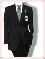 black Wool Suit Tuxedo Men's Suit Jacket And Pants  2 Button Suit shiny 100% wool STRIPES FREE FAST SHIP & TIE SET
