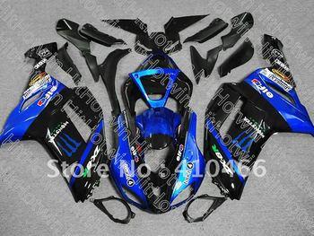 K449  Free shipp Blue  black Fairing kit for KAWASAKI  Ninja ZX-6R 07-08  ZX6R 2007-2008  ZX 6R 07 08  2007  2008