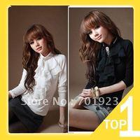 Женские блузки и Рубашки Casual Fashion new Korea Women V-neck Studs half Sleeve Chiffon Blouse shirt Top Black White Blue Y2644