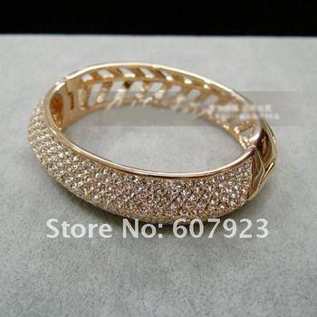 Free shipping! 3pcs/lot, Fashionable Charm Swaro Crystal bangle Bracelet, shining,18K Rose gold plated, High Quality, hotsale