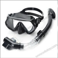 Scuba Diving Snorkeling Silicone Mask Set(Black) 12579