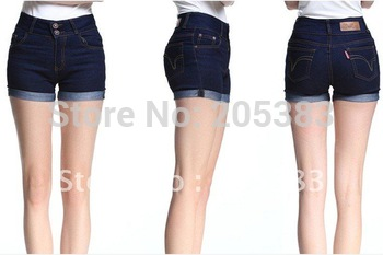Women's denim shorts high waist roll up hem buttons plus size jeans summer shorts