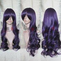 New Glam purple black long wavy cosplay wig wigs  + wap Free shipping