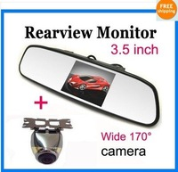 Free Shipping!!New 3.5 inch LCD mirror monitor+Car Rear View Waterproof wide angle camera cam