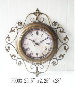 wholesales Mute quartz with white metal artwork shelf  and antique bronze color  wall clock home decorative crafts garden clocks