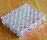 Free Shipping, A box of 30 Round Plastic Jewelry Adjustable Tools Box Case Craft Organizer Storage Bead C35