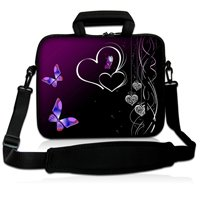 """10"""" Two Hearts Neoprene Laptop Carrying Bag Sleeve Case Cover w/Side Pocket +Shoulder Strap For 9.7"""" -10.2"""" Laptop Tablet PC(China (Mainland))"""