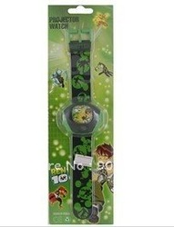Cartoon Ben 10 Alien Force Pattern Plastic Kid's Digital Projector Watch (Green),Free shipping(China (Mainland))