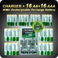 1 Set Rechargeable Battery AA/AAA Batteries 16+16 AA AAA NiMH 1.2v 3000mAh 1350mAh Battery + Charger+Free Shipping