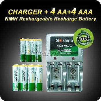 Rechargeable Recharge Battery 4x AA + 4x AAA NIMH Rechargeable Battery + Wall CHARGER