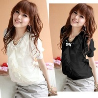 2012new summer Korean Ladies slim OL temperament short sleeve large doll shirt women Chiffon Blouse Shirt chiffon shirt