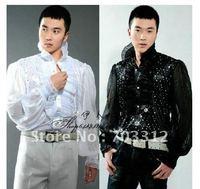 Studio man taking photos hosted MC shirts stage performance shirt man long sleeve shirt glitter