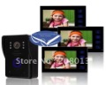 promotion Luxury free shipping large screen cheapest touch button 7inch wired video intercom 1 camera+3 monitors