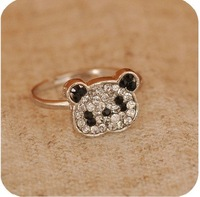 Wholesale Cute Crystal panda ring,fashion ring,30pcs/lot