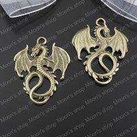 (25301)Free Shipping Wholesale Vintage Charms & Pendants Alloy Findings,charm pendants,Antiqued style bronze tone Dragon 10PCS