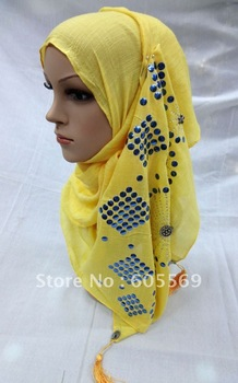 rs145 2012 hot drill cotton arabic muslim head scarf with diamond and fringe in white/yellow colors for free shipping