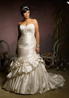 2013 Free Shipping!satin pleated sheath embroidery beaded lace up royal train plus size wedding dress