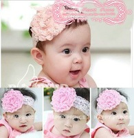 Baby girls rose flower hairband, children Lace rose headband baby flower hair bows baby hair accessories Free shipping