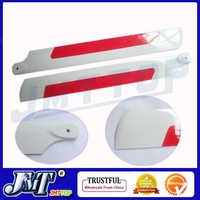 F00900 1 Pairs 425MM 430MM Glass Fiber Main Rotor Blade (white+red) For All TREX 500 RC Helicopter + Free shipping