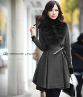 Women's 2013 winter large fur collar woolen outerwear slim wool coat thick outerwear Gray and Black size  S-M-L-XL