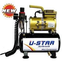 U-STAR Mini Air Compressor U-601G, Golden Color, With Tank, High-performance, Oil-less & Quiet