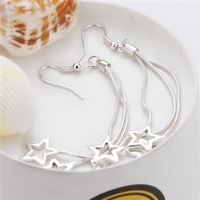 Fashion jewelry 925 Silver Free Shipping Triple Hollow Star Earrings E161